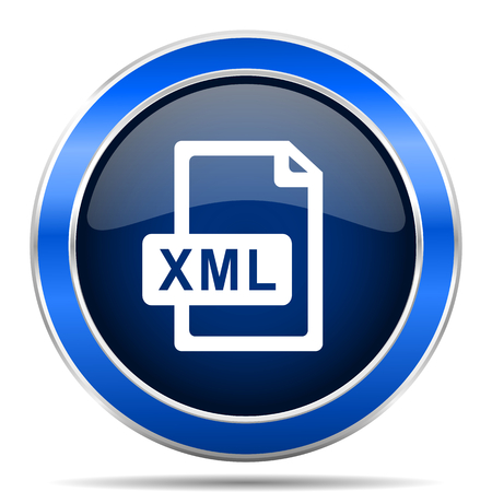 Xml file vector icon. Modern design blue silver metallic glossy web and mobile applications button
