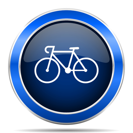 Bicycle vector icon. Modern design blue silver metallic glossy web and mobile applications button.