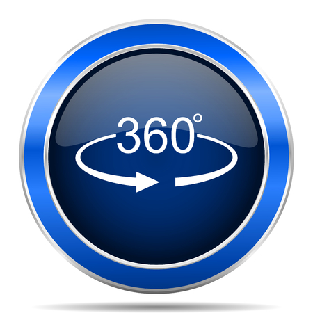 Panorama 360 vector icon. Modern design blue silver metallic glossy web and mobile applications button Çizim