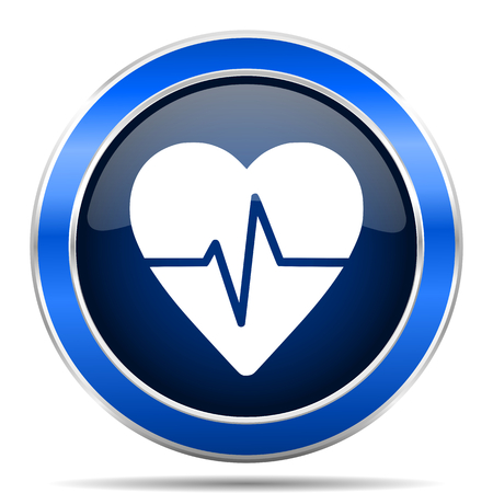 Pulse vector icon. Modern design blue silver metallic glossy web and mobile applications button