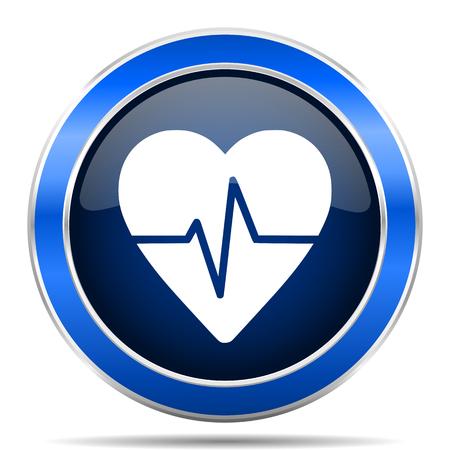 Pulse vector pictogram. Modern design blauw zilver metallic glossy web en mobiele applicaties knop Stock Illustratie