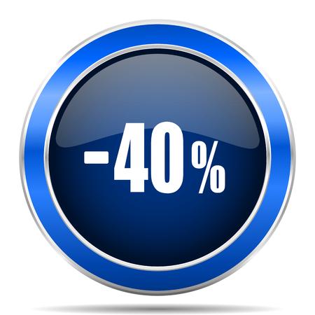 40 % 판매 소매 벡터 아이콘입니다. 현대 디자인 블루 실버 금속 광택 웹 및 모바일 응용 프로그램 단추