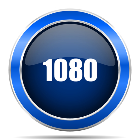 1080 vector icon. Modern design blue silver metallic glossy web and mobile applications button