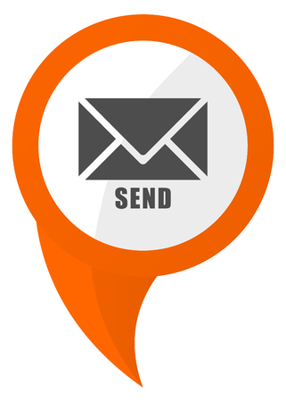 Send orange pin vector icon illustration. Isolated on white background.
