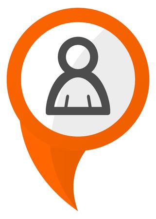 Person orange pin vector icon
