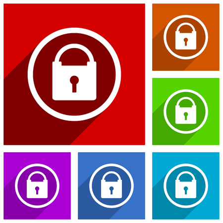 Padlock vector icons. Secure flat design colorful illustrations for web designers and mobile applications. Vector illustration.