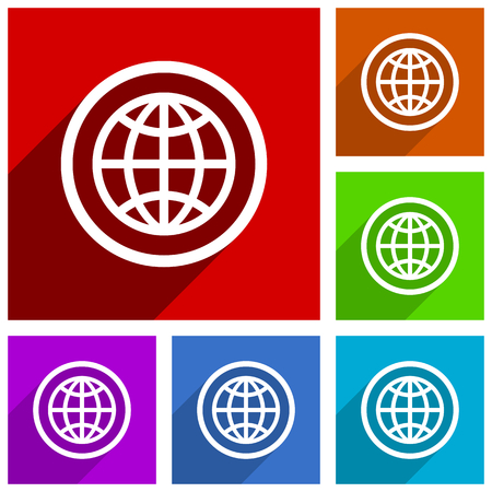 Earth vector icons. Flat design colorful illustrations for web designers and mobile applications. Vector illustration. Vectores