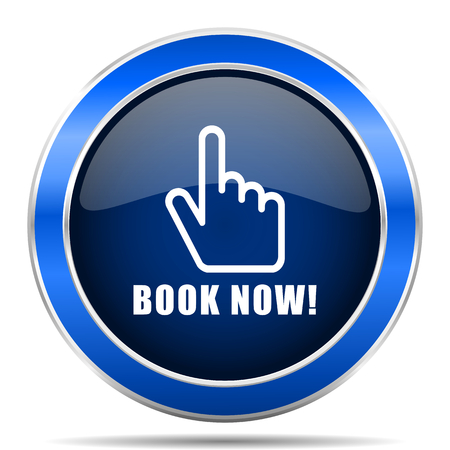 Book now vector icon. Modern design blue silver metallic glossy web and mobile applications button. Illustration