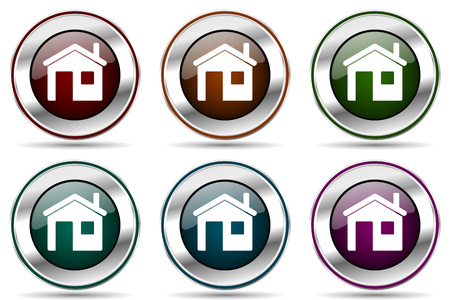 House vector icon set silver metallic border icons for web design and smartphone applications.