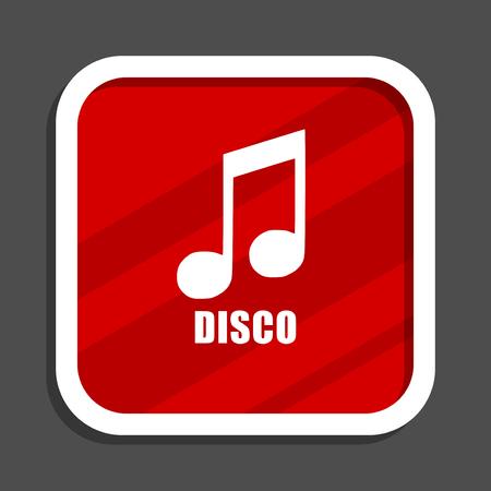 Disco music icon. Flat design square internet banner.