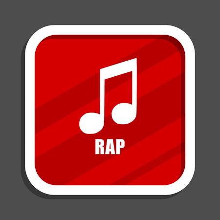 Rap music icon. Flat design square internet banner. Stock Photo