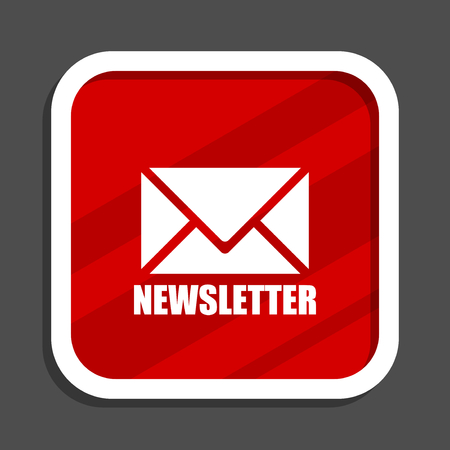 Newsletter icon. Flat design square internet banner.