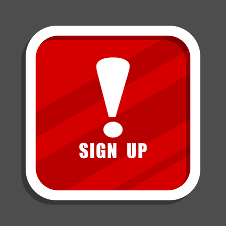Sign up icon. Flat design square internet banner. Stock Photo