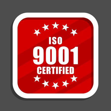 Iso 9001 icon. Flat design square internet banner. Stock Photo