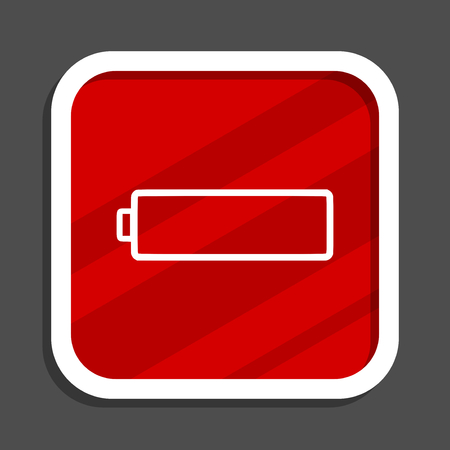 Battery icon. Flat design square internet banner.