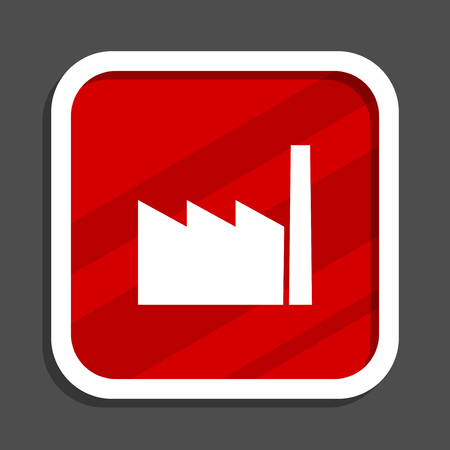 Factory icon. Flat design square internet banner. Stock Photo