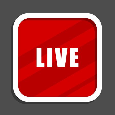 Live icon. Flat design square internet banner.