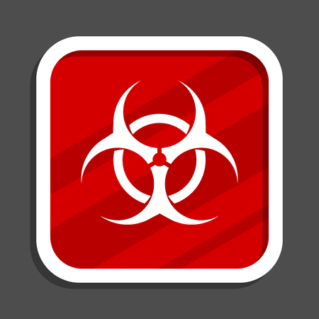 Biohazard icon. Flat design square internet banner. Banque d'images