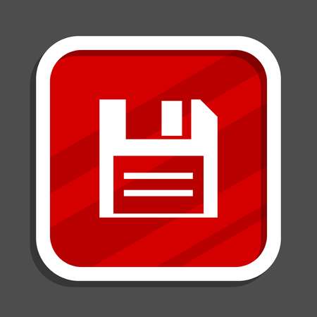Disk icon. Flat design square internet banner.