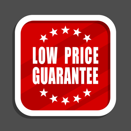 Low price guarantee icon. Flat design square internet banner. Stock Photo
