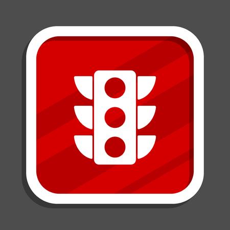 Traffic lights icon. Flat design square internet banner. Stock Photo