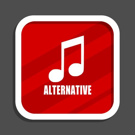 Alternative music icon. Flat design square internet banner.