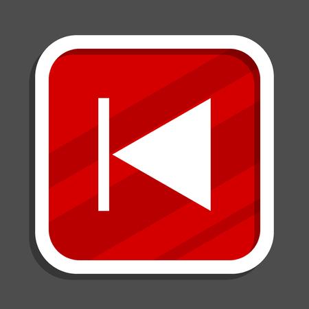 Prev icon. Flat design square internet banner.