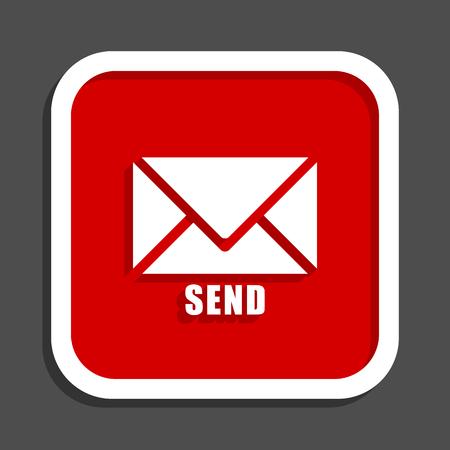 Send vector icon. Flat design square internet red button.