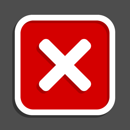 Cancel vector icon. Flat design square internet red button. Illustration
