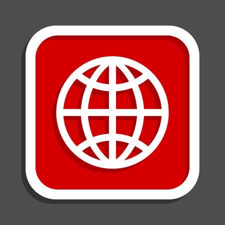 Globe vector icon. Flat design square internet red button. Vectores