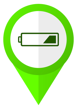 Battery green flat pointer vector icon.