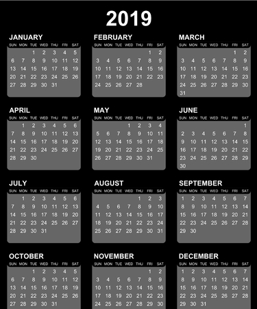 Simple editable vector calendar for year 2019 sundays first on black background