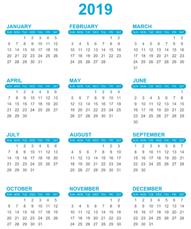 Simple editable vector calendar for year 2019 sundays first on white background
