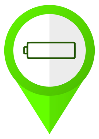 Battery green flat pointer vector icon. Modern design web button.