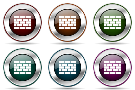 Firewall vector icon set. Silver metallic chrome border icons for web design and smartphone applications