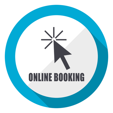 Online booking blue flat design web icon
