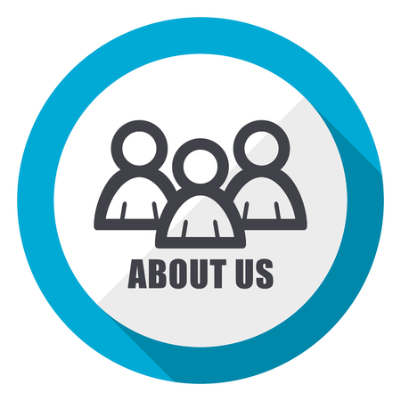 About us blue flat design web icon