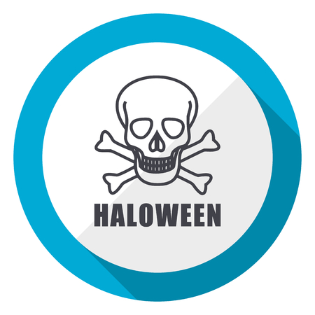 Haloween skull blue flat design web icon