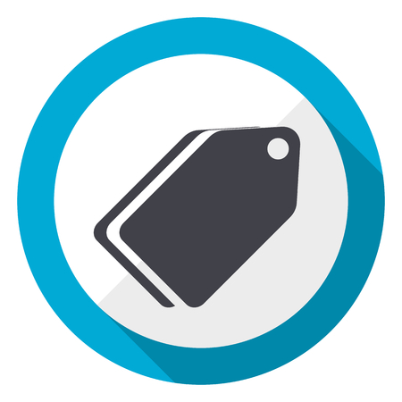 Label ticket blue flat design web icon