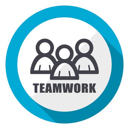 Icône web design plat bleu travail d'équipe