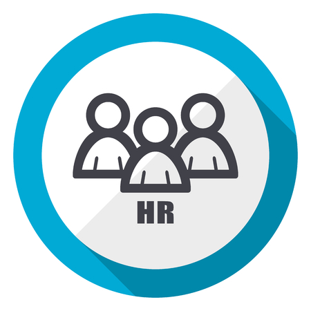 HR blue flat design web icon