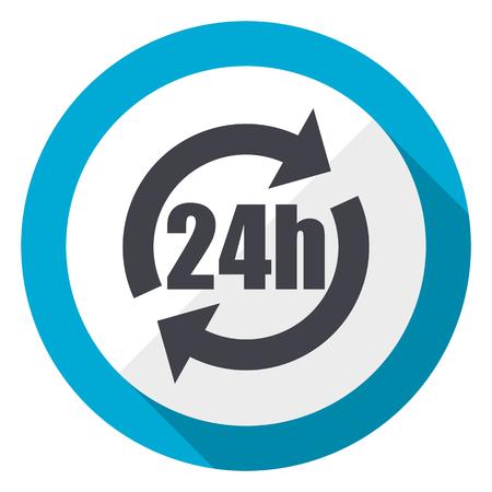 24h blue flat design web icon Stock Photo