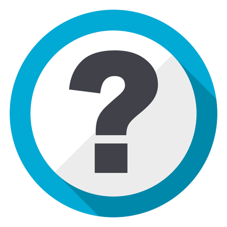 Question mark blue flat design web icon Stock Photo