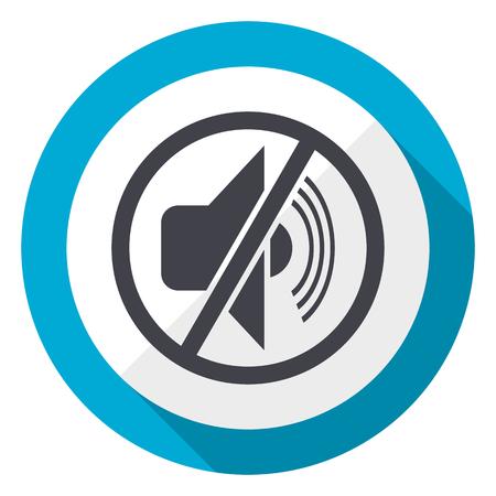 Mute blue flat design web icon