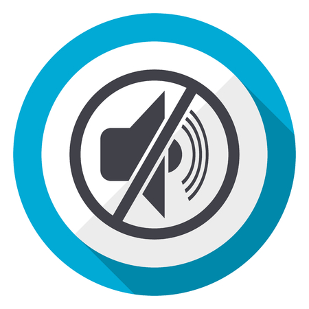 Mute blue flat design web icon