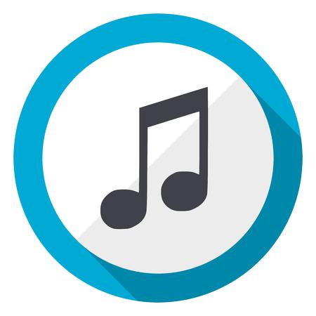 Music blue flat design web icon