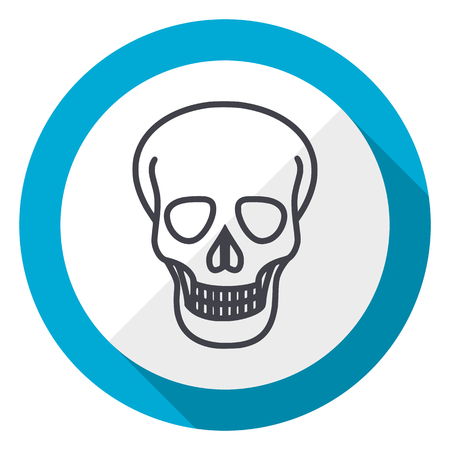 Skull blue flat design web icon