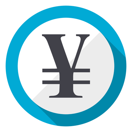 Yen blue flat design web icon