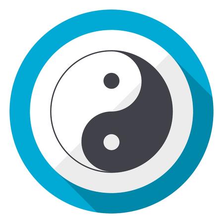 Ying yang blue flat design web icon