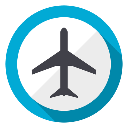 Plane blue flat design web icon